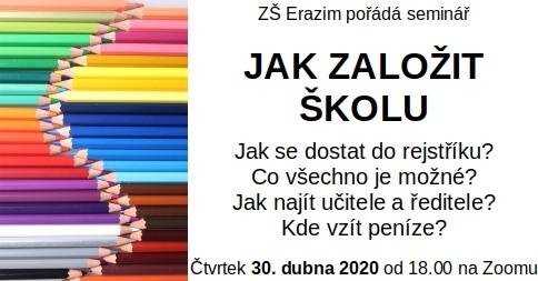 Plakát k semináři o založení soukromé školy